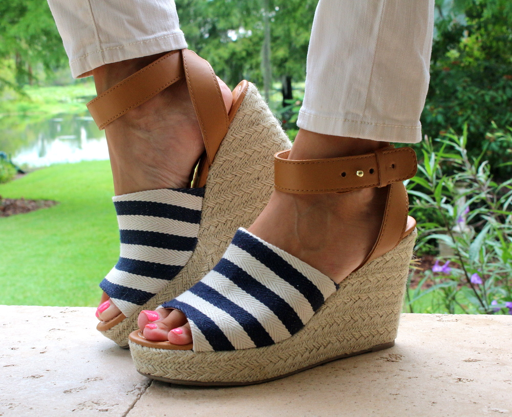 Striped wedges from Payless, $20