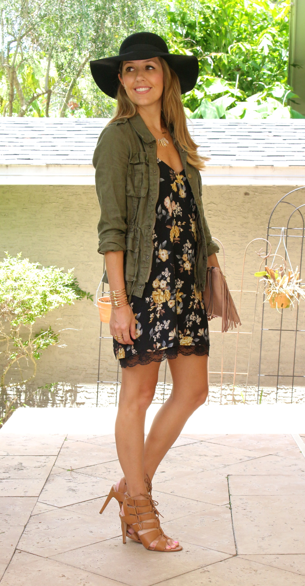 Military jacket with floral slipdress