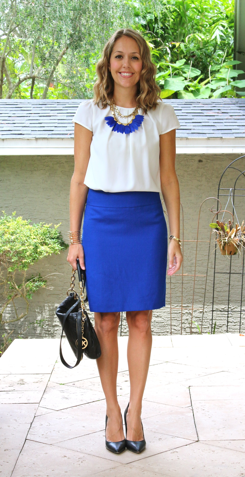 White blouse with cobalt skirt