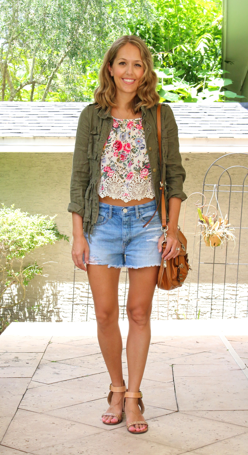 H&M crop top with boyfriend shorts