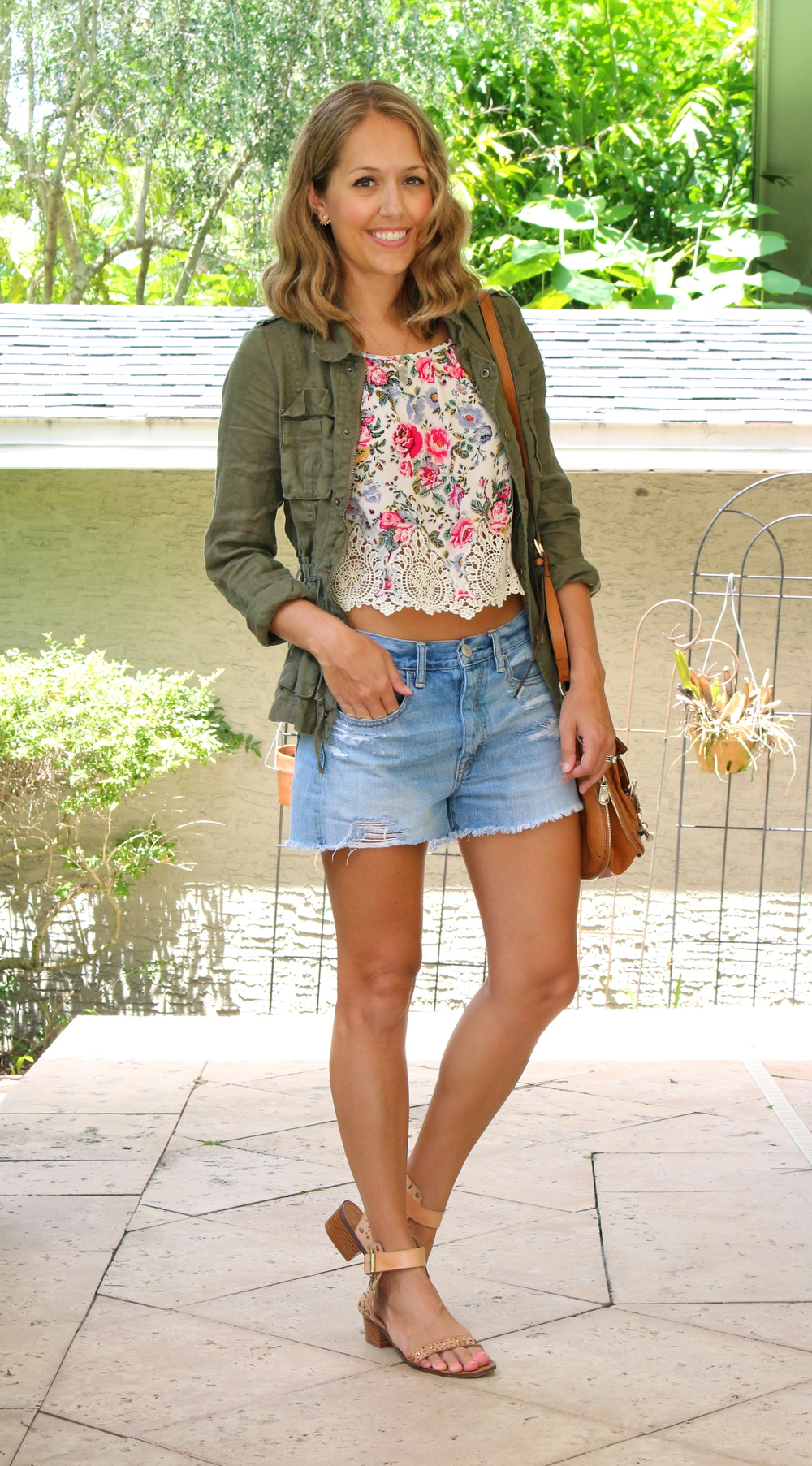 H&M floral crop top with army jacket