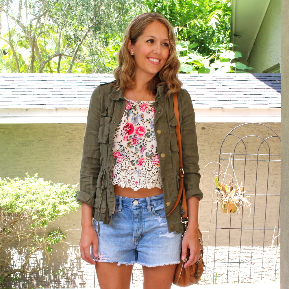 H&M crop top with army jacket