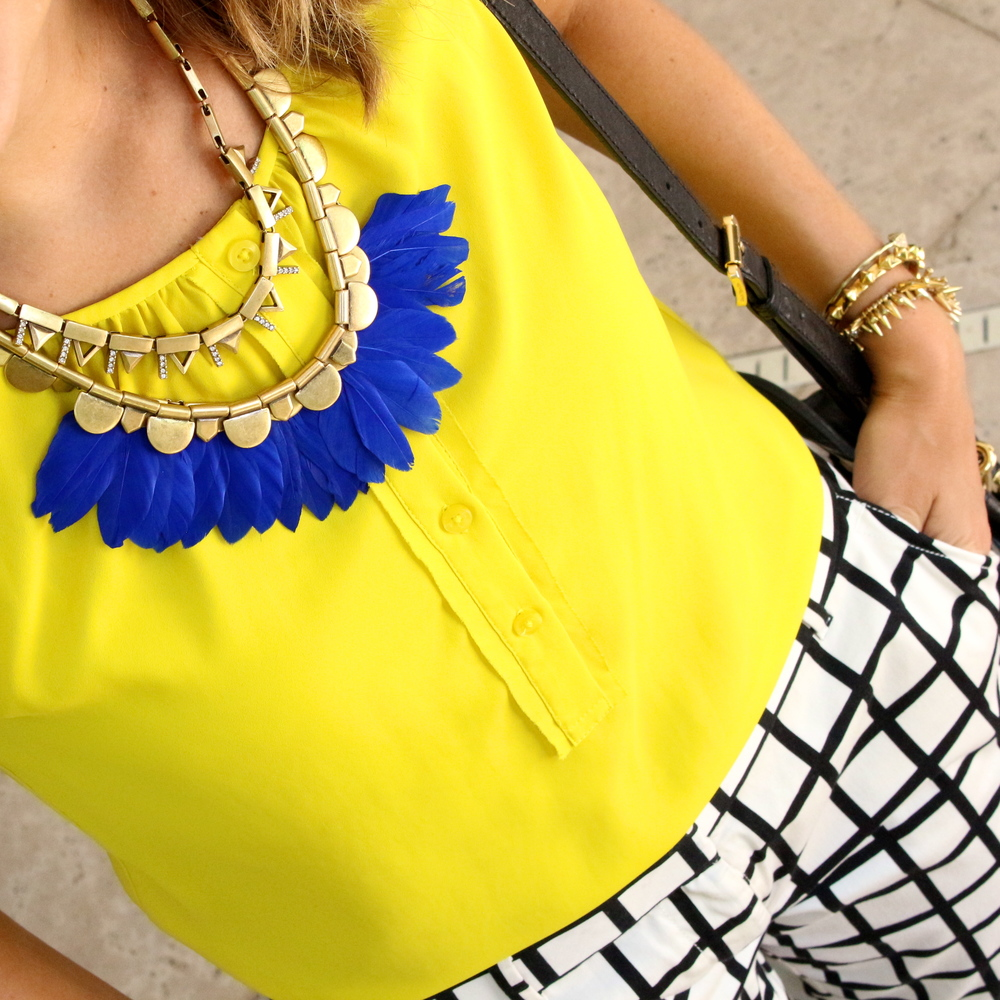 Stella & Dot plume necklace, yellow top, windowpane pants