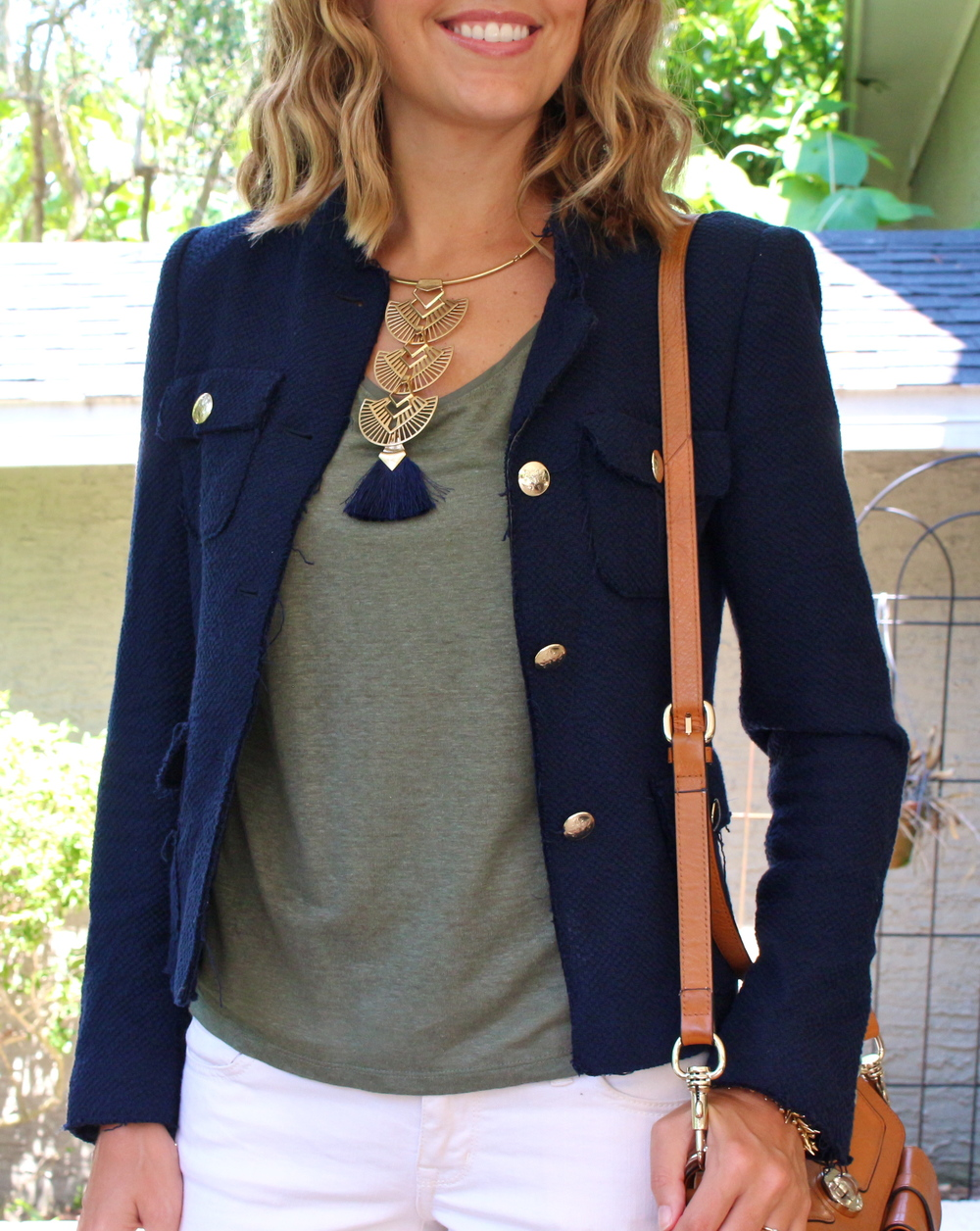 Navy boucle jacket, olive tee, Stella & Dot Aida tassel necklace