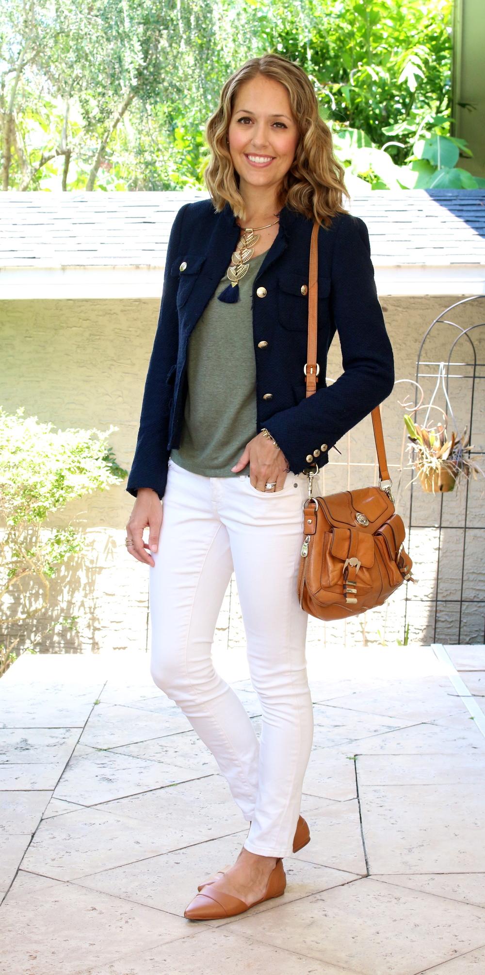 Navy jacket, olive tee, ivory jeans