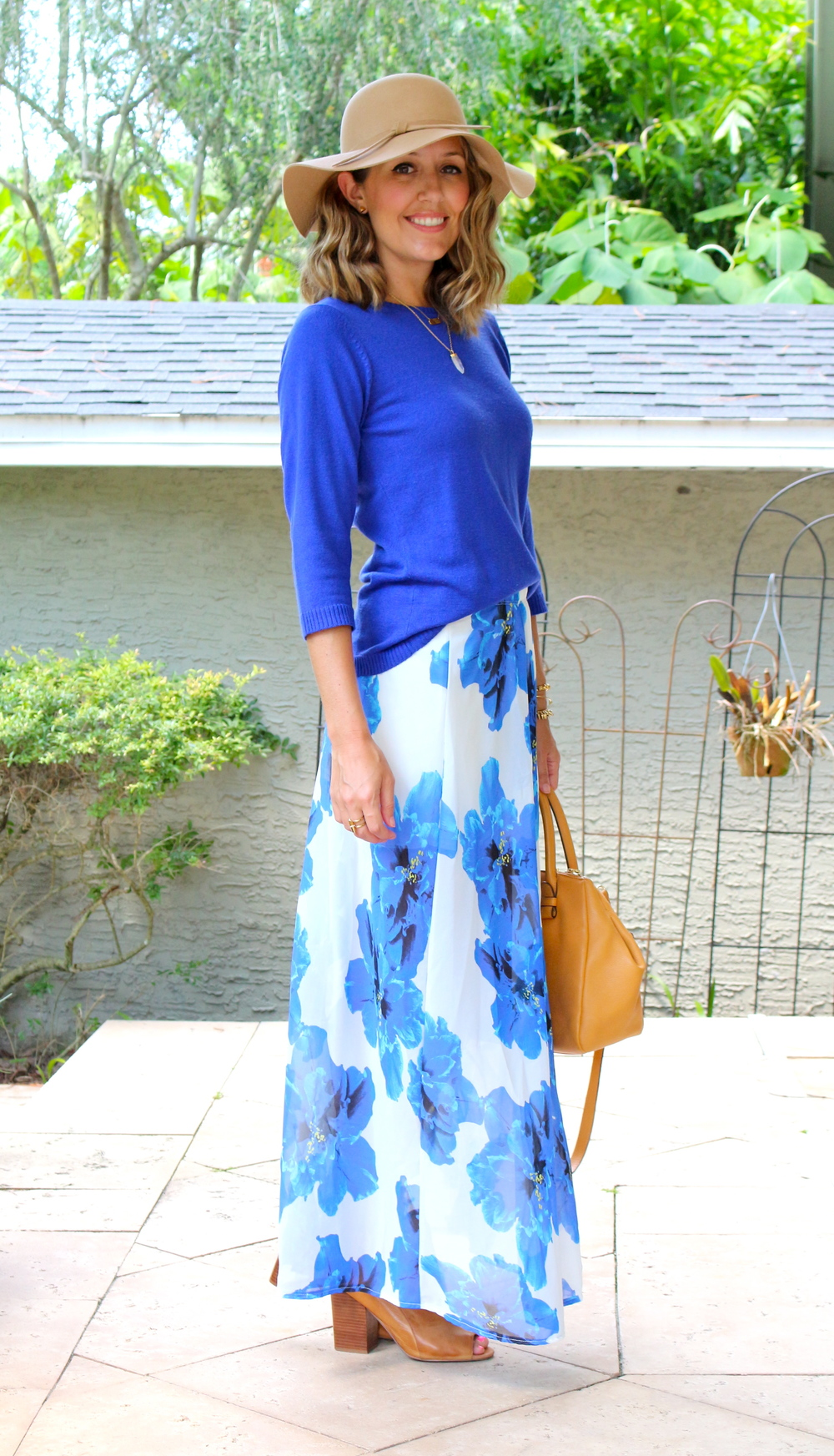 Cobalt sweater, floral maxi, wool hat