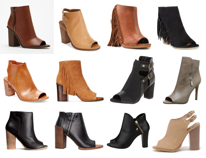 Peep toe boots under $150