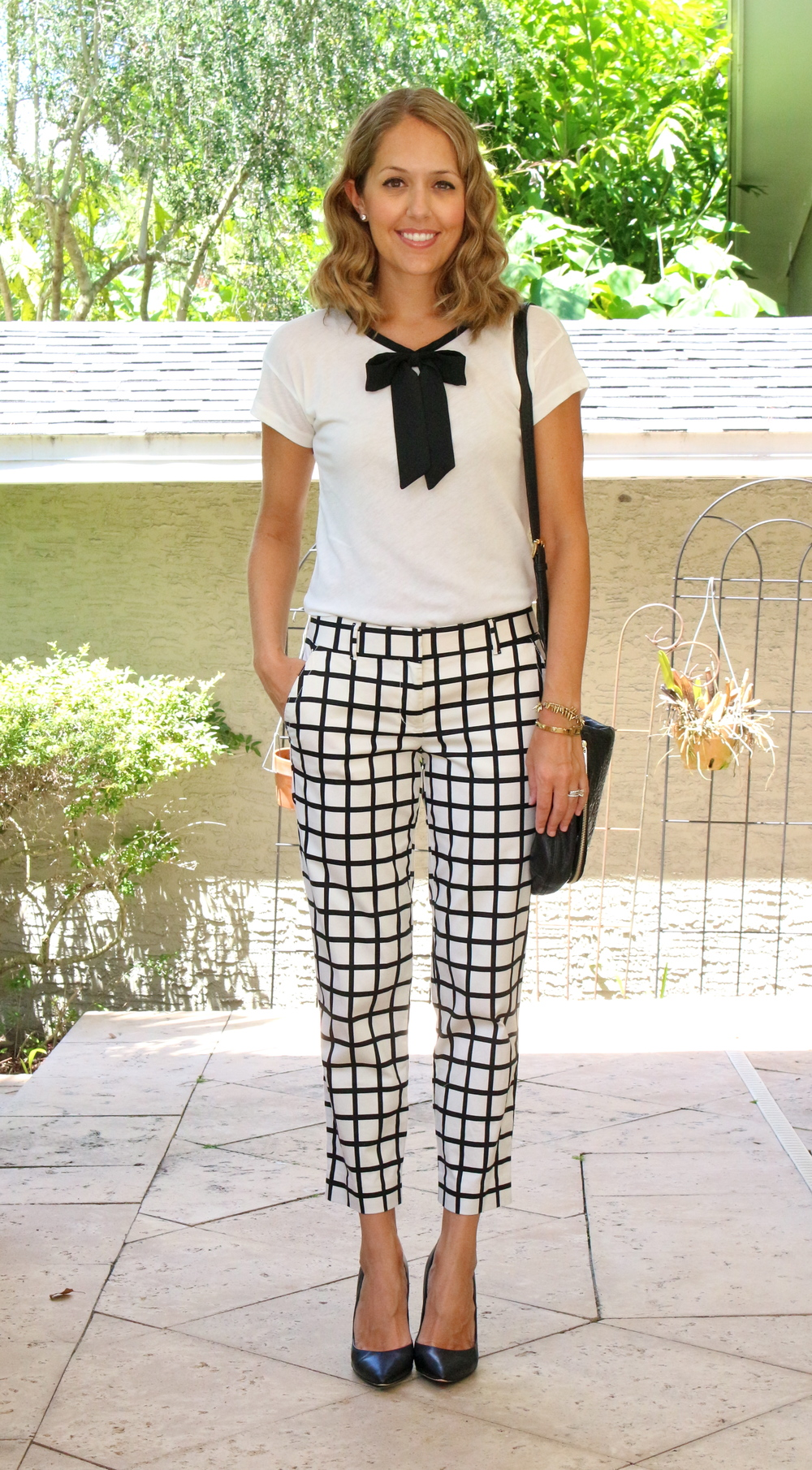 $20 bow top with windowpane pants