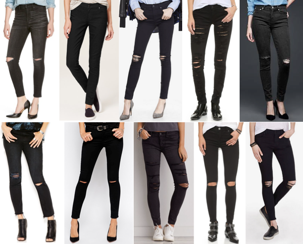 Distressed black denim under $100