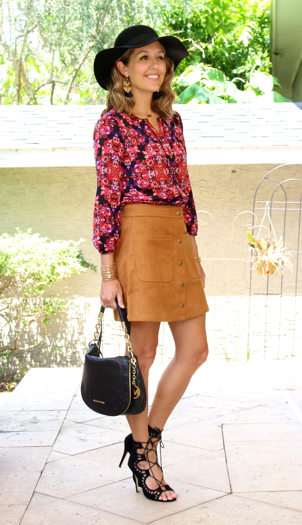 Floral top, suede skirt, lace up heels, wool hat