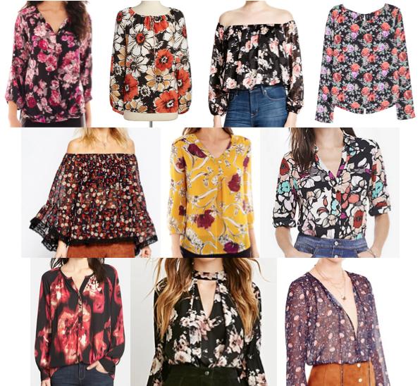 70's floral blouses under $100
