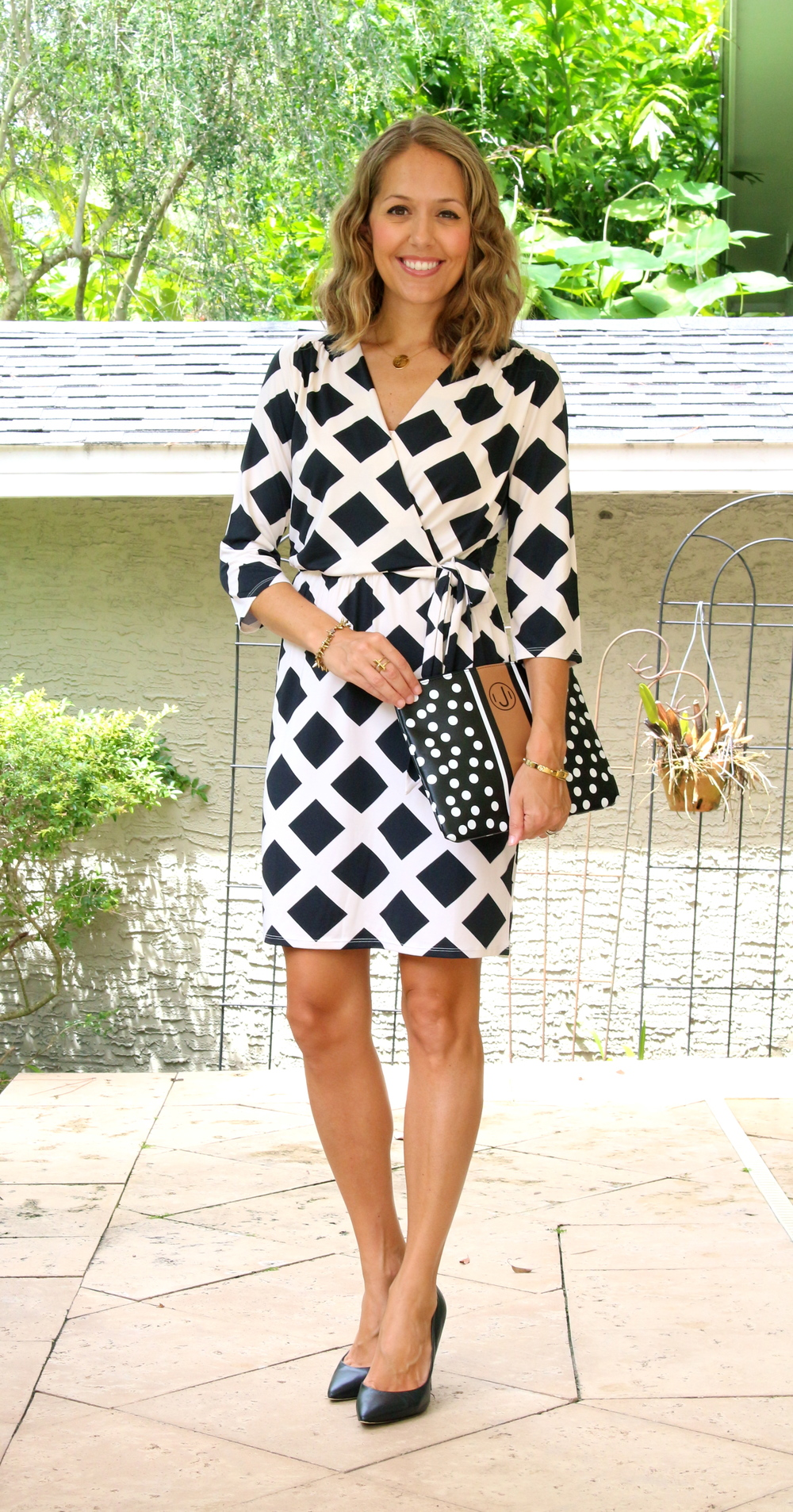 Mud Pie black and white wrap dress