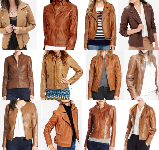 Cognac leather jackets on a budget, $25-$300