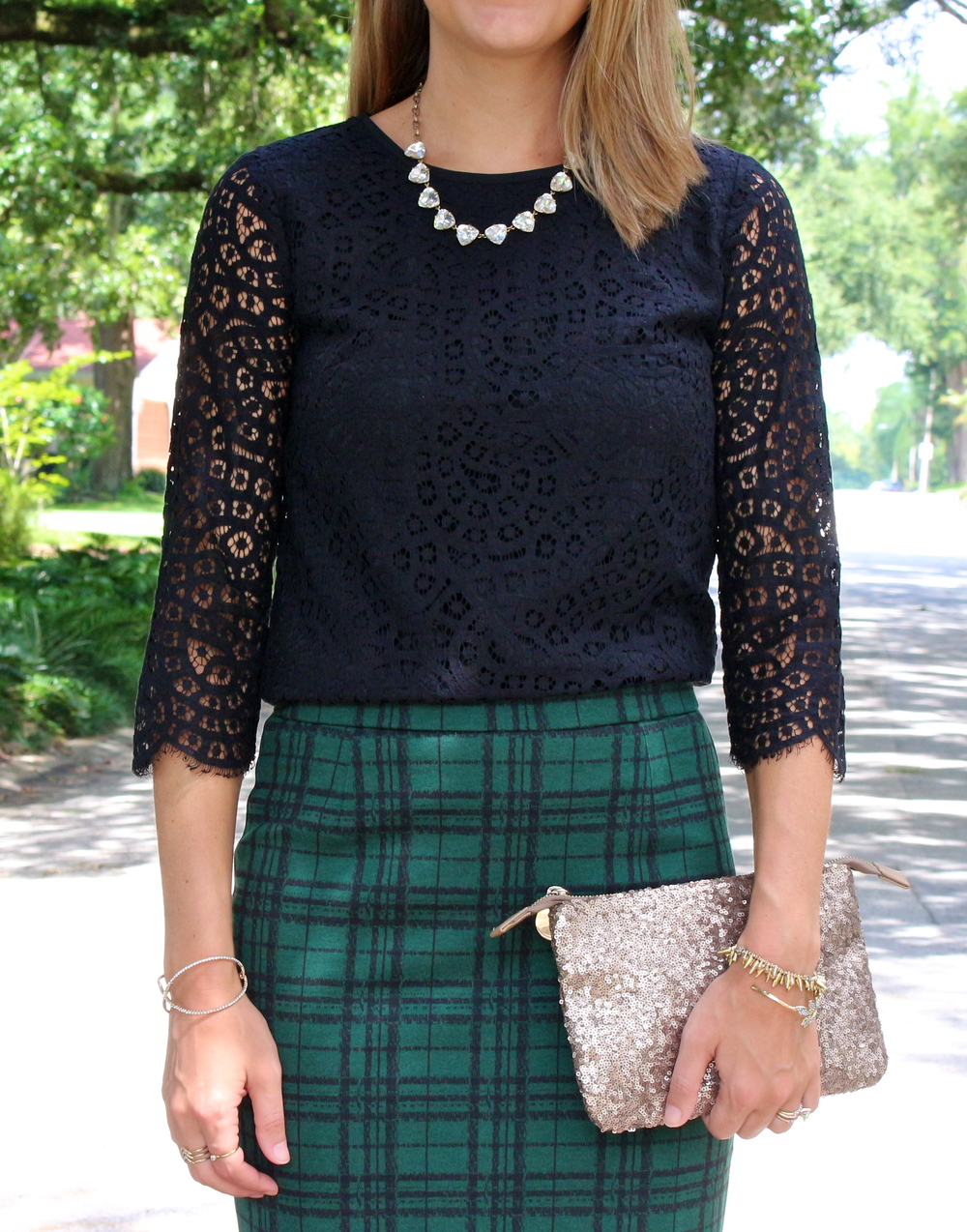 Black lace top and green plaid pencil skirt