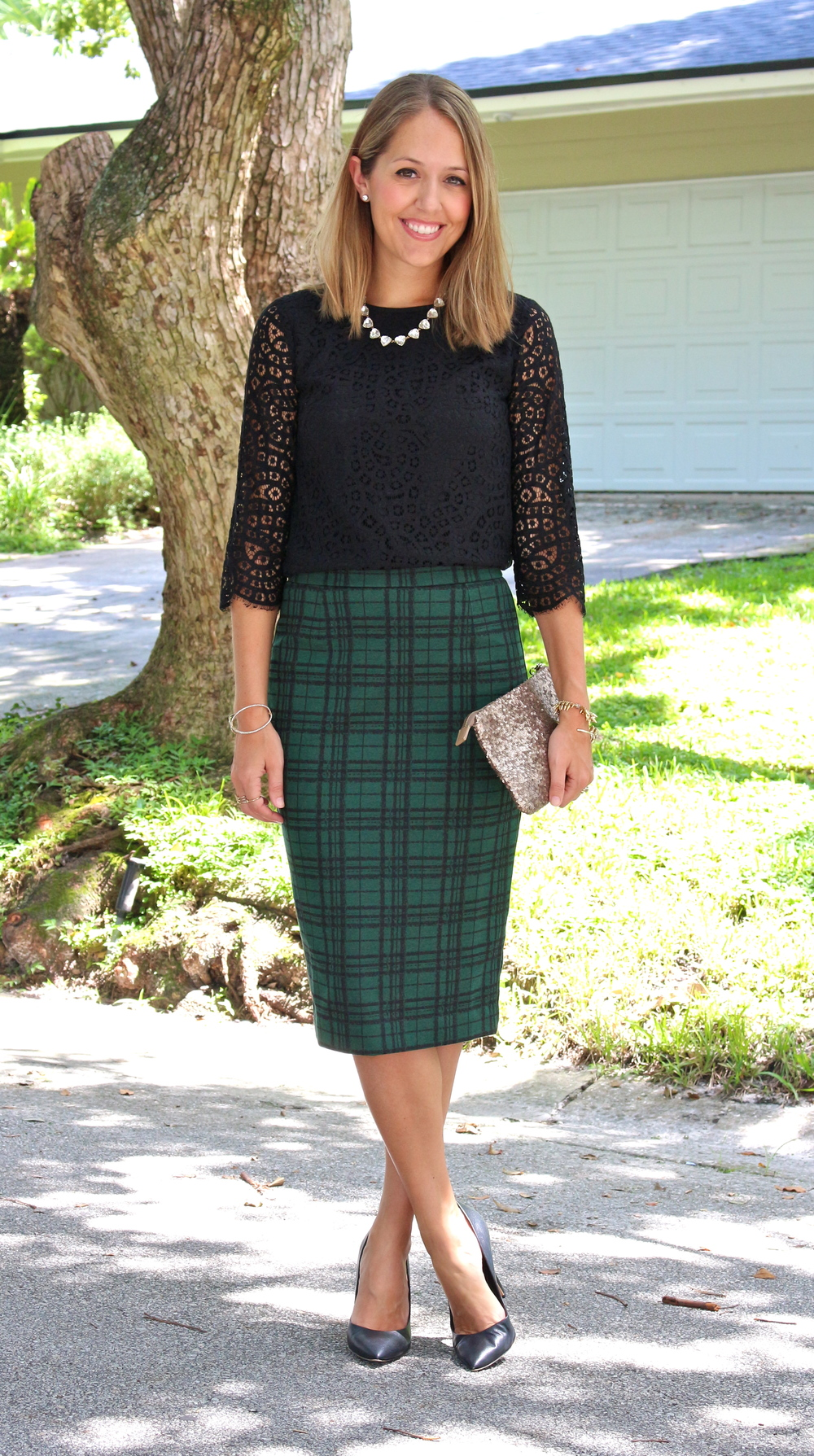 Black lace top, green plaid skirt