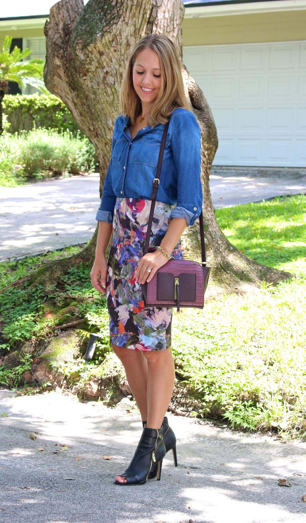 Chambray top with floral skirt
