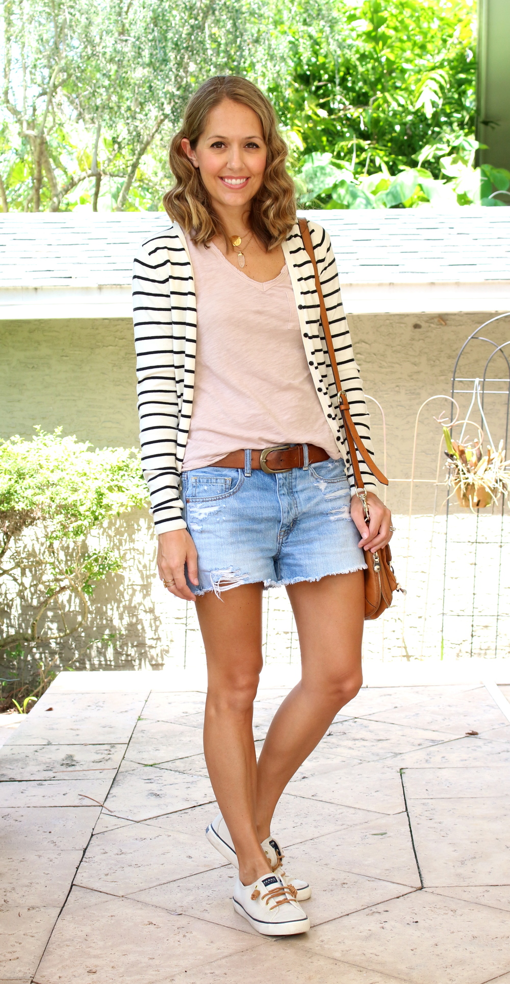 Striped cardigan, denim shorts, Sperrys