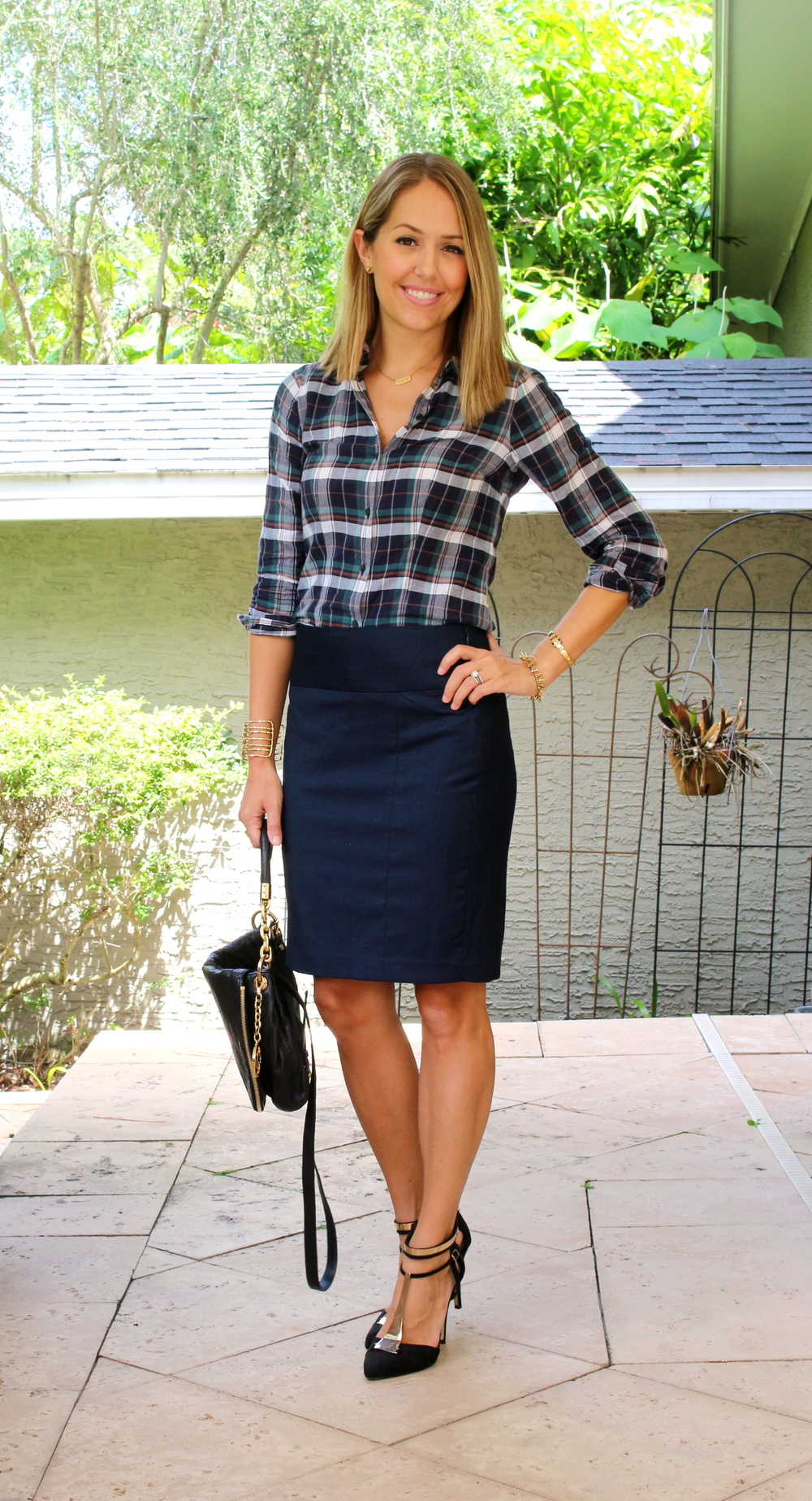 Plaid top, pencil skirt, t-strap pumps
