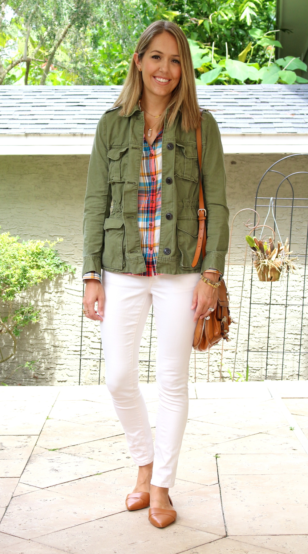 Field jacket, plaid top, ivory jeans