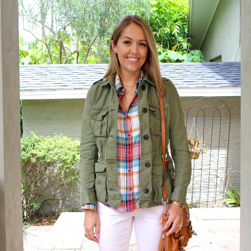 Military jacket, plaid top, ivory jeans