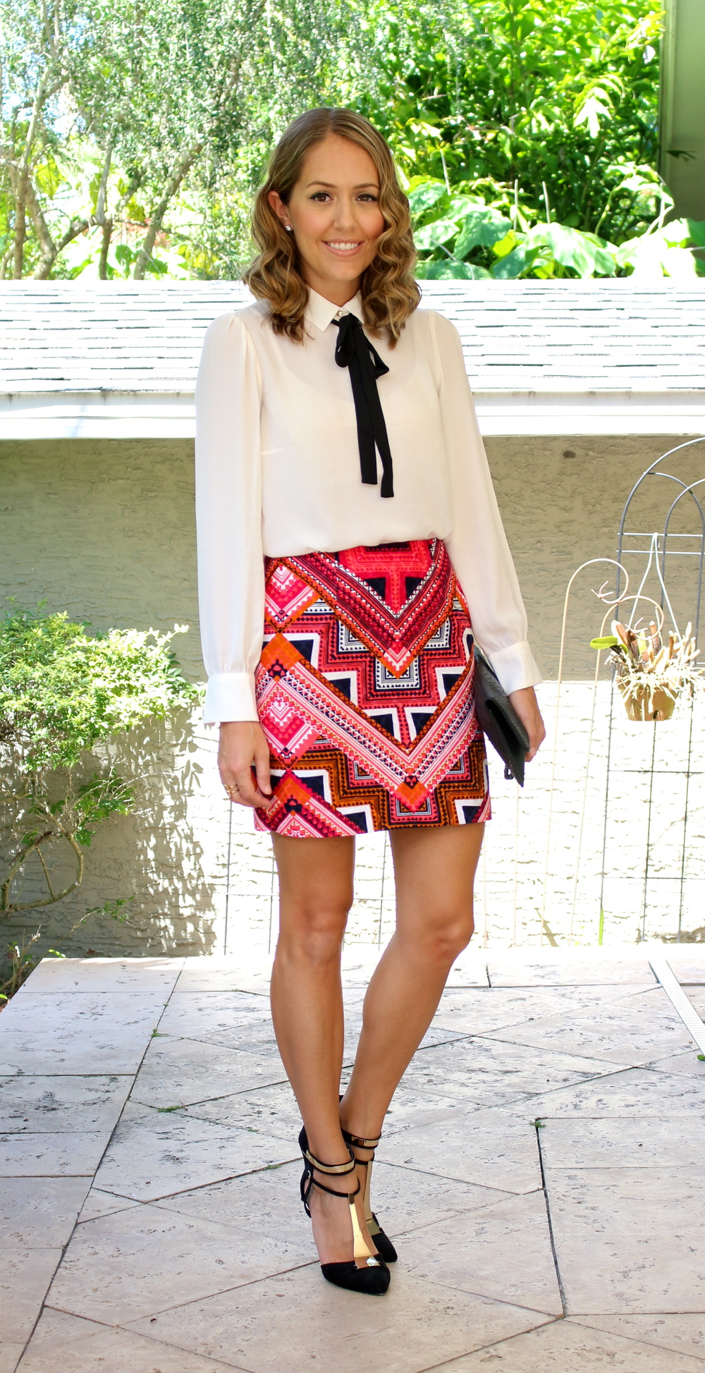 H&M tie front blouse with Target tribal skirt