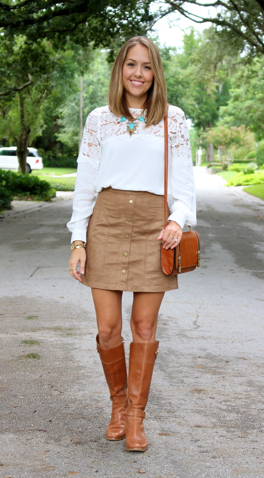 Lace top, suede skirt, turquoise necklace, riding boots