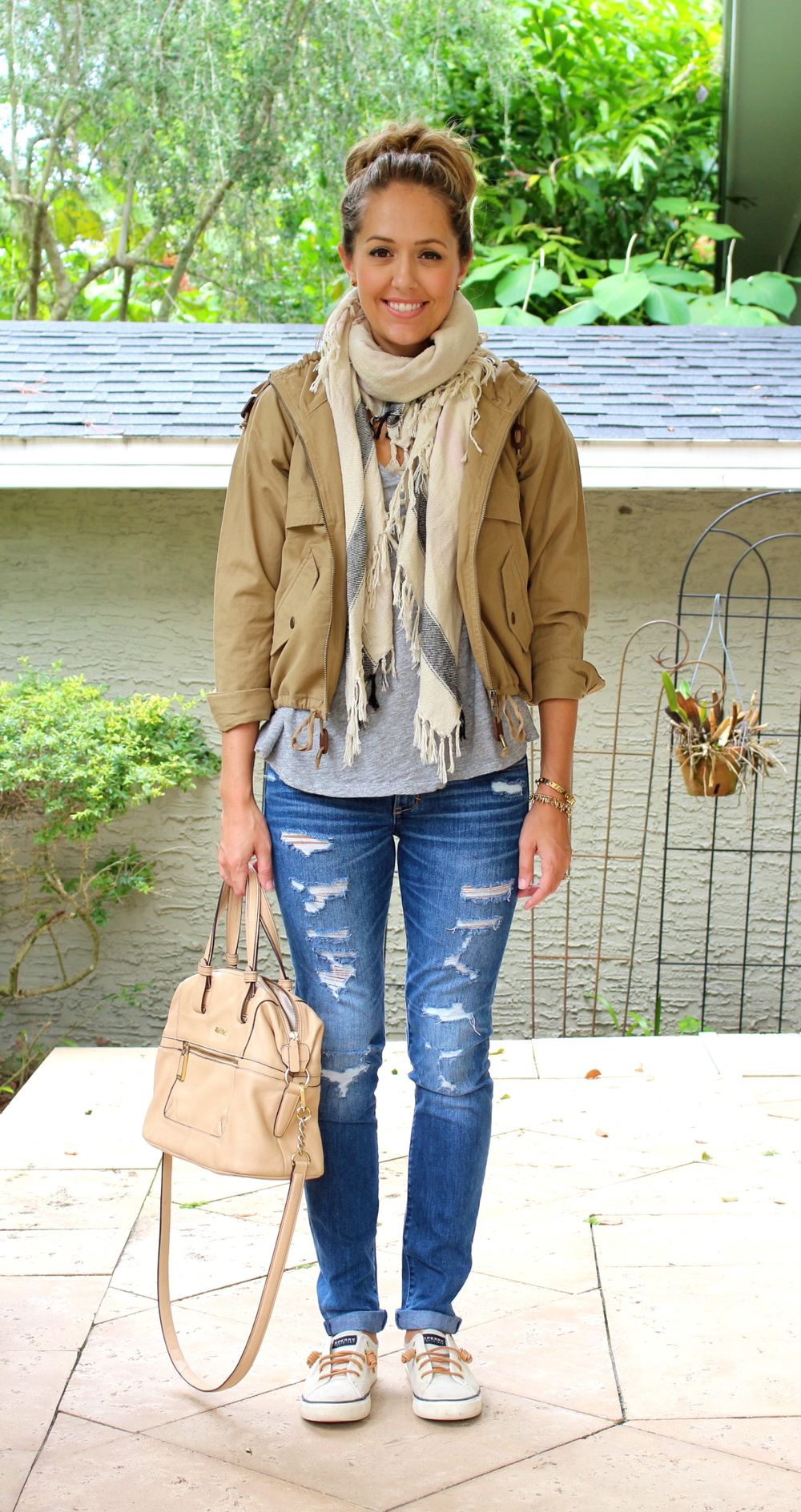 LOFT anorak and scarf, distressed jeans, Sperrys