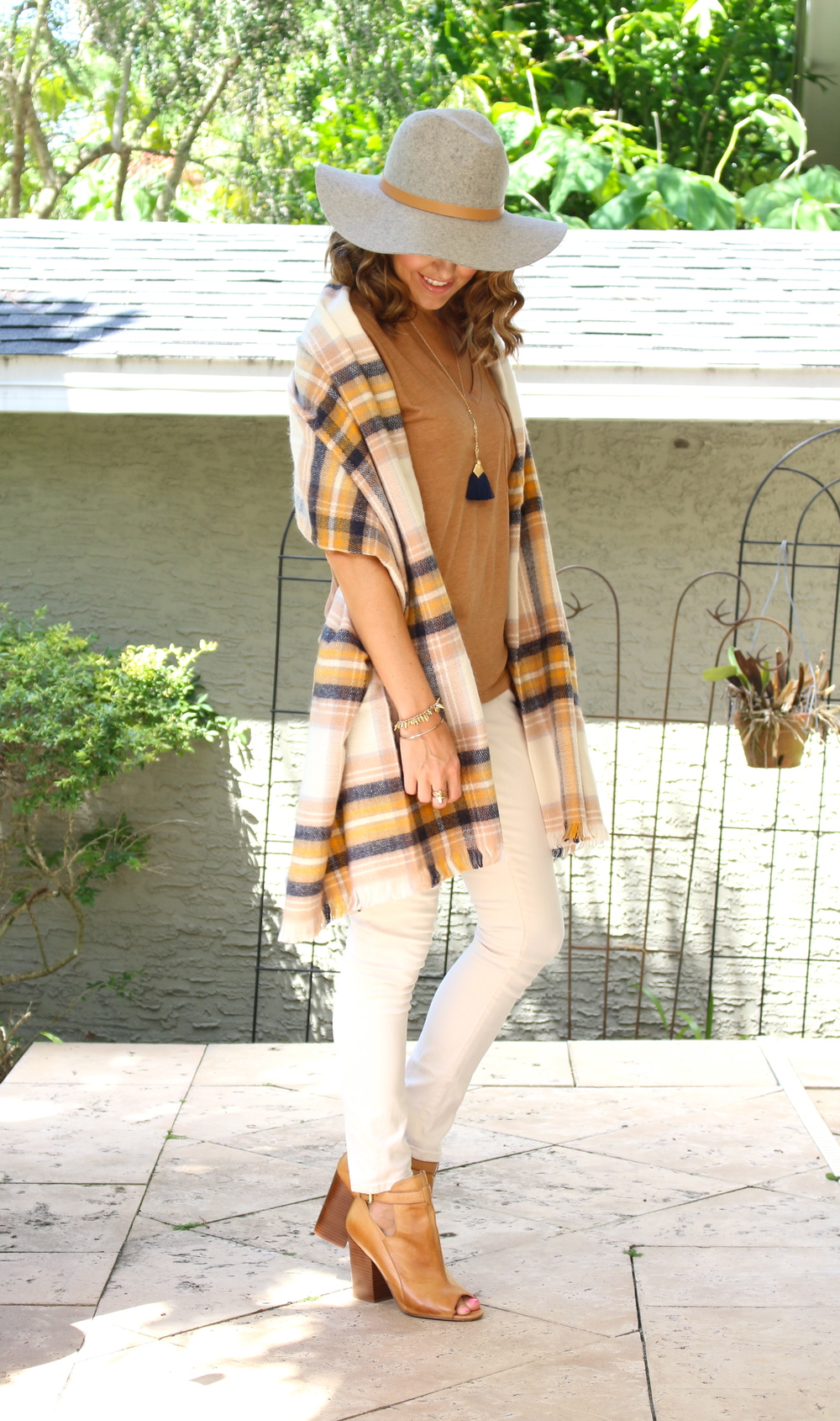 Wool hat, plaid scarf, ivory jeans
