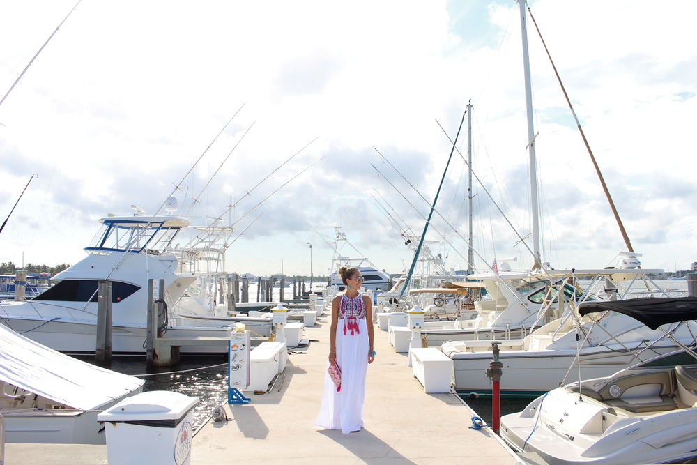 Sailfish Marina - embroidered white maxi