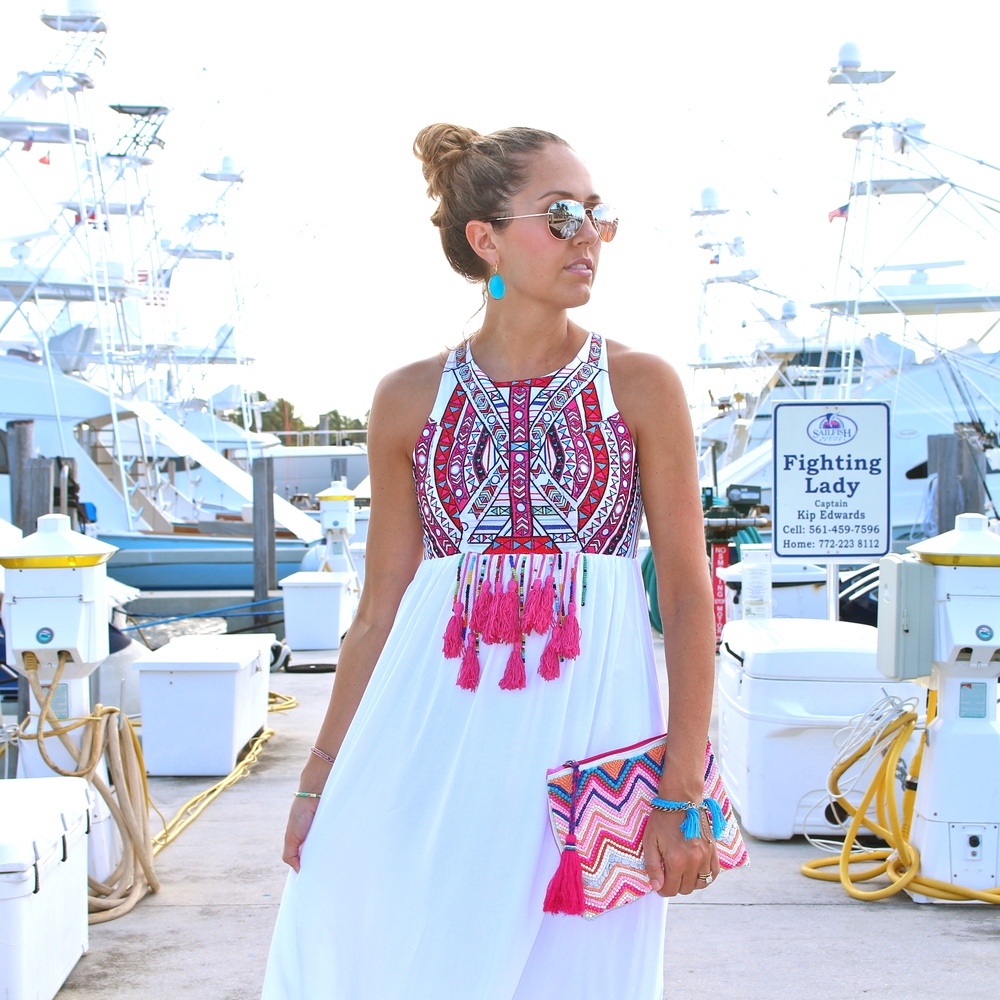 Embroidered white maxi, $68