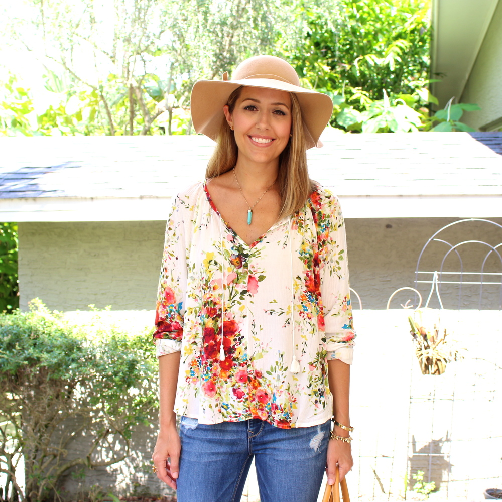 Wool hat, turquoise necklace, boho floral top