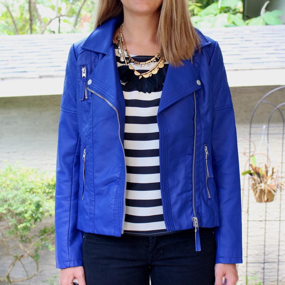 Cobalt leather jacket, striped shirt, black jeans