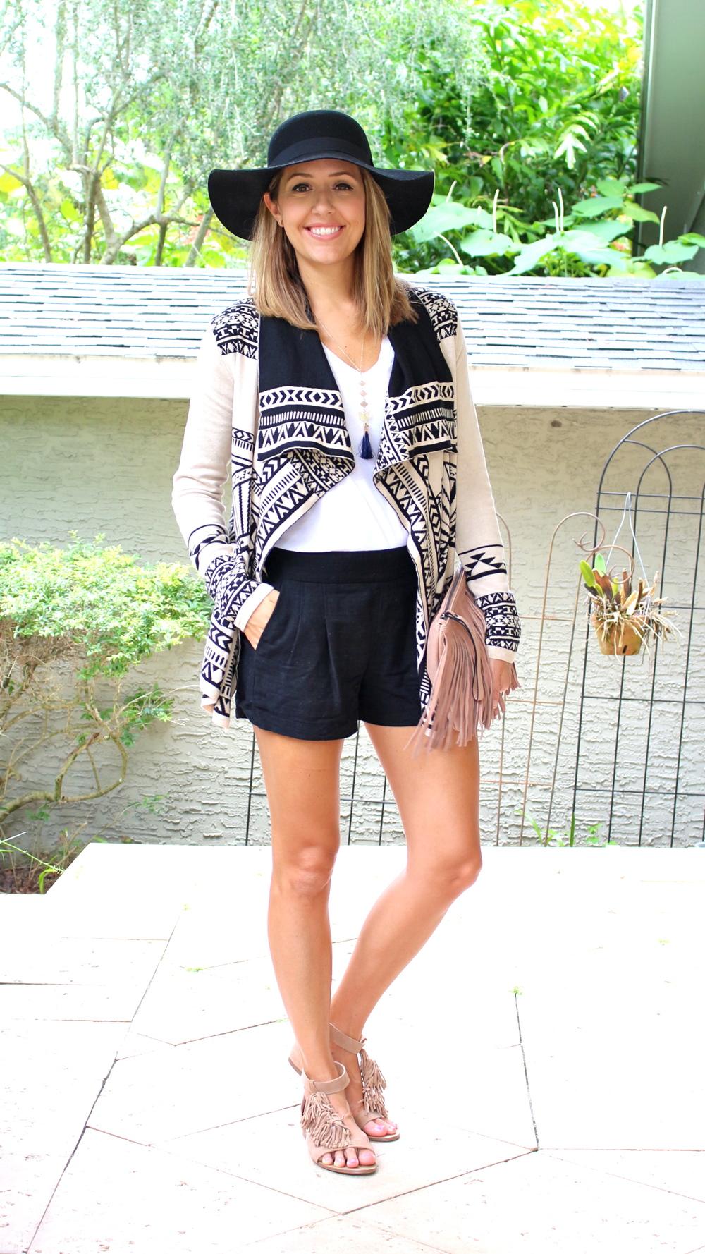 Black hat, aztec sweater, black shorts
