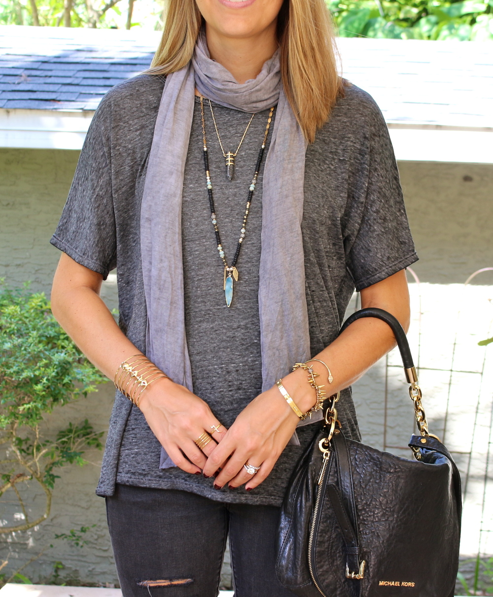 Stella & Dot necklaces, gray tee, black jeans