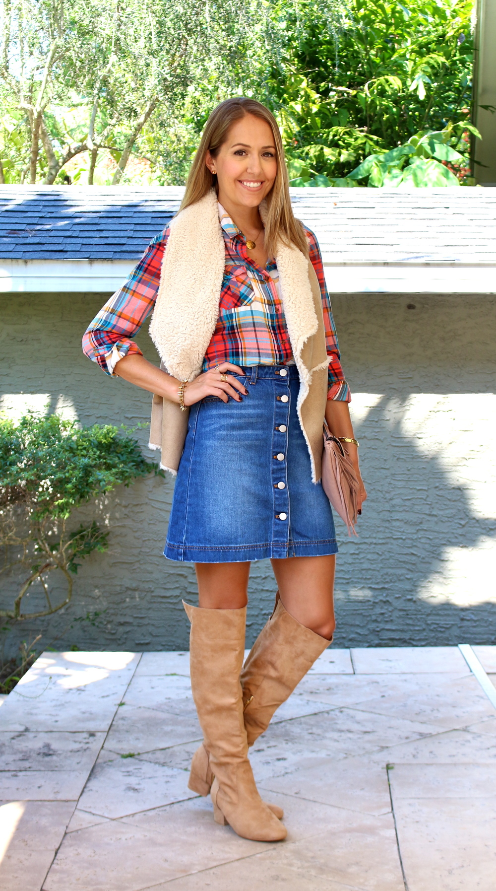 Plaid top, shearling vest, denim skirt
