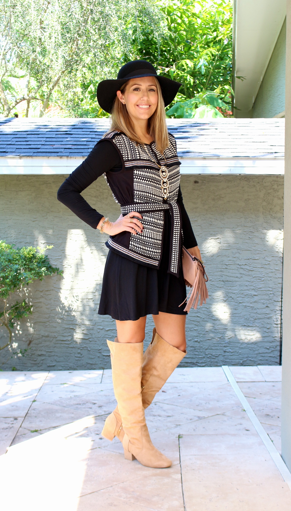 H&M vest, black dress, suede boots