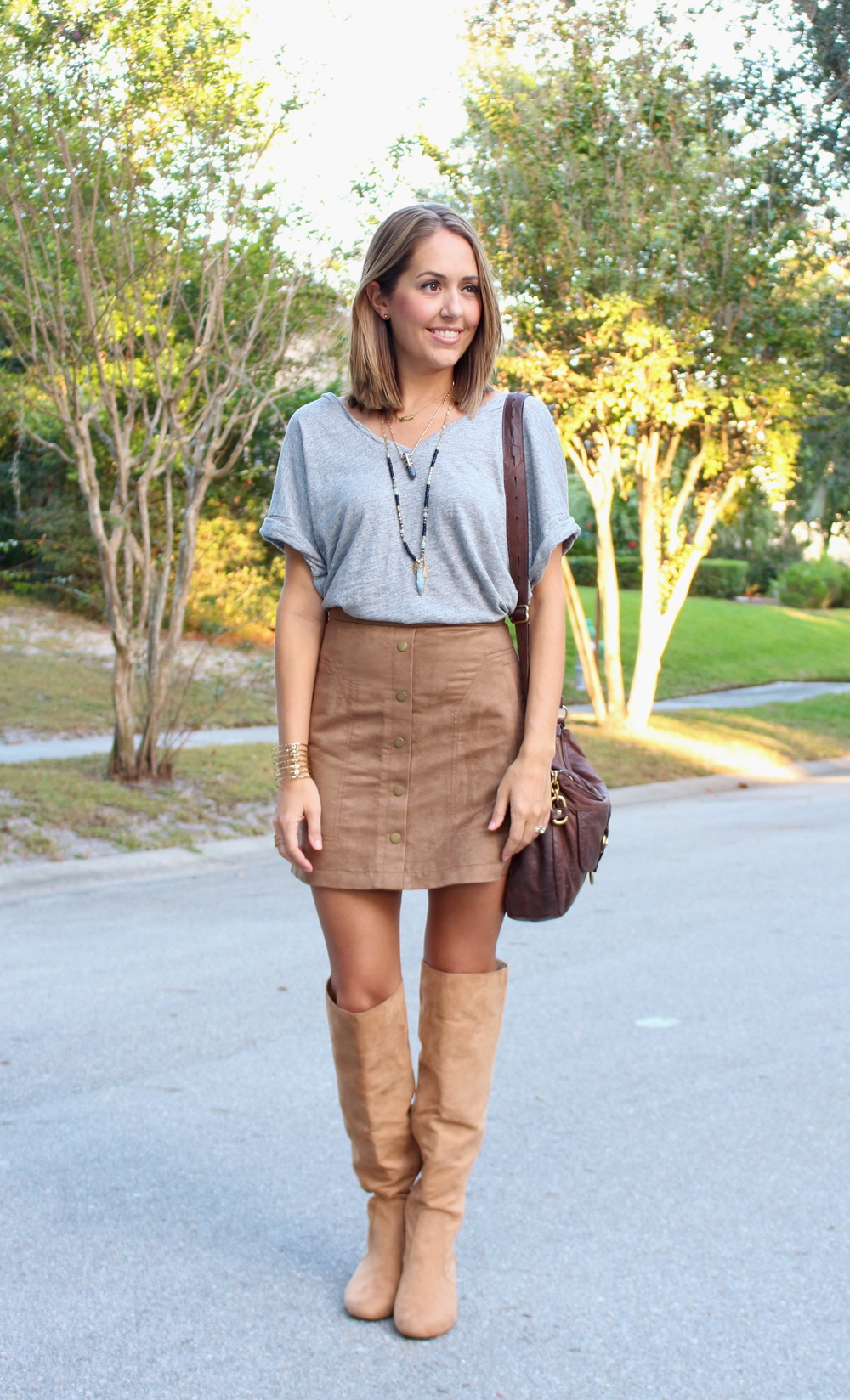Gray top, suede skirt, suede boots
