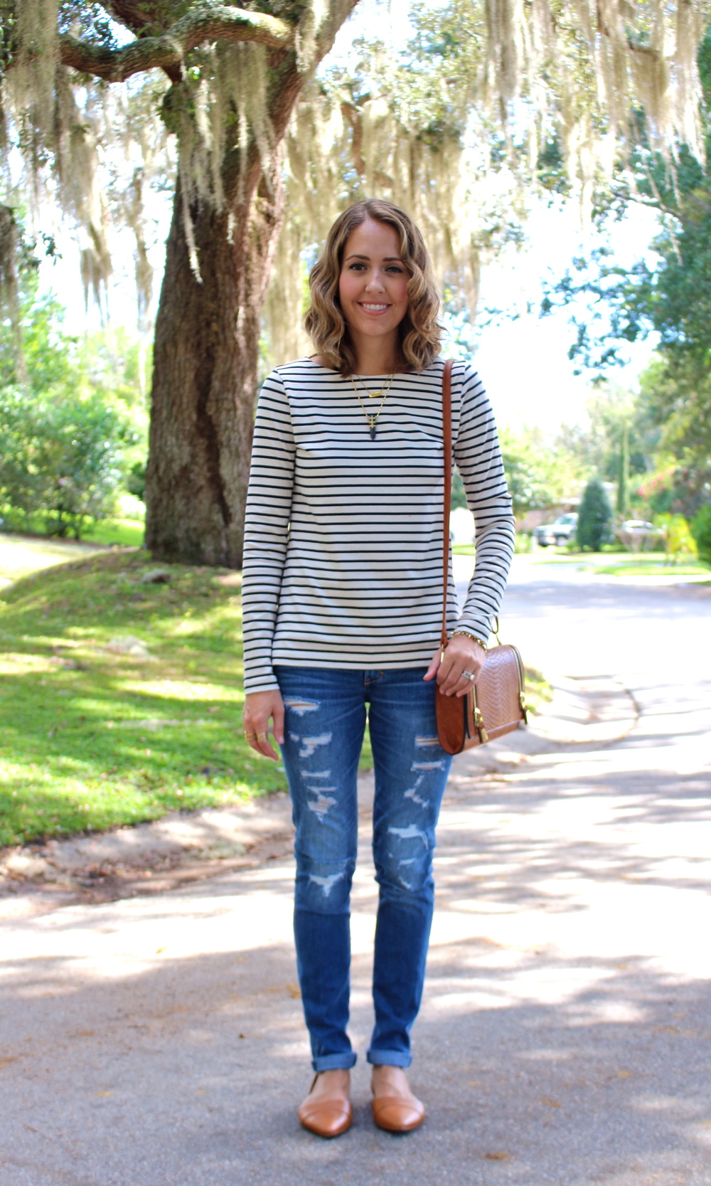 Striped tee, distressed denim, d'orsay flats