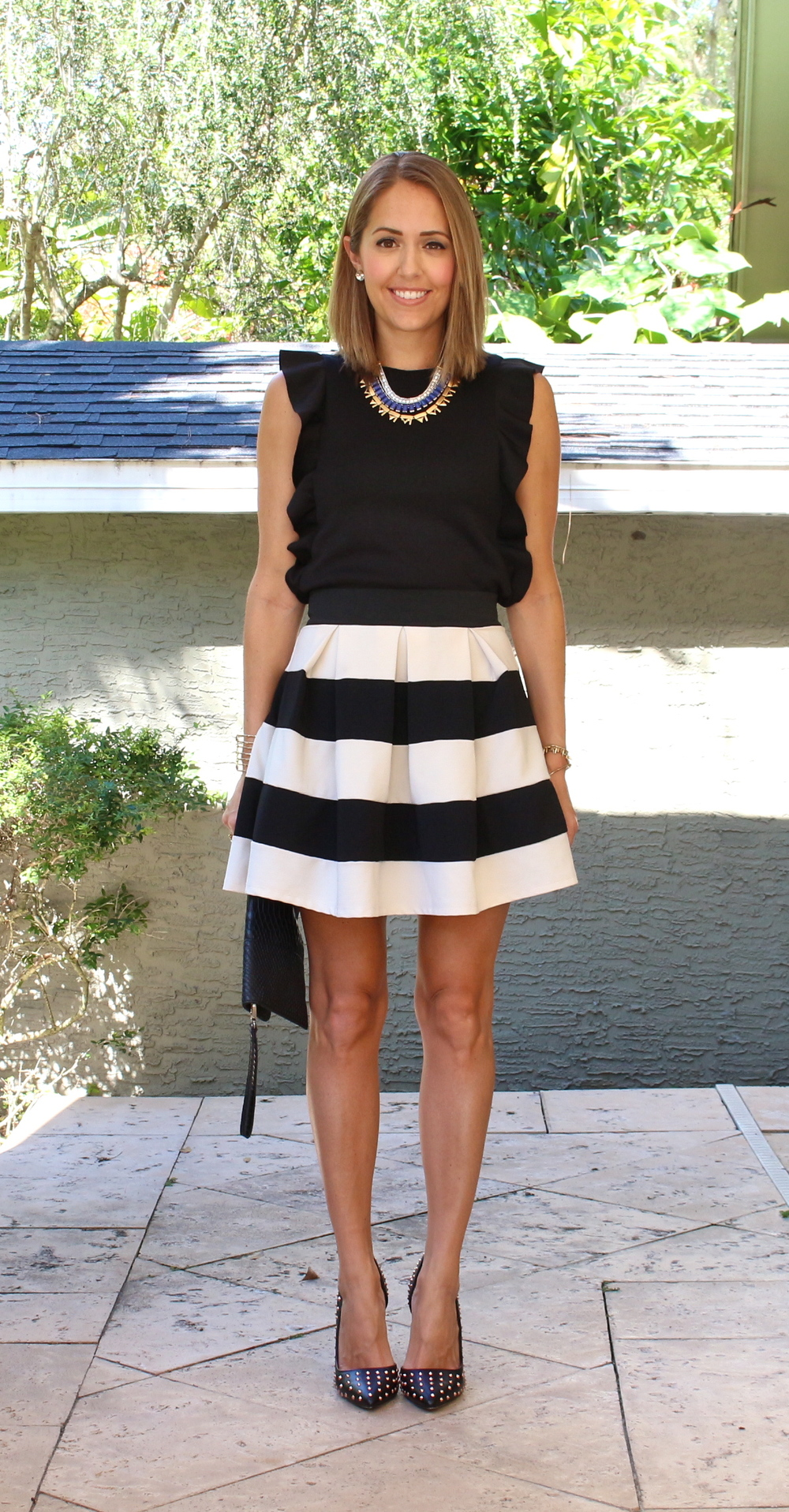 Ruffle top with wide stripe skirt