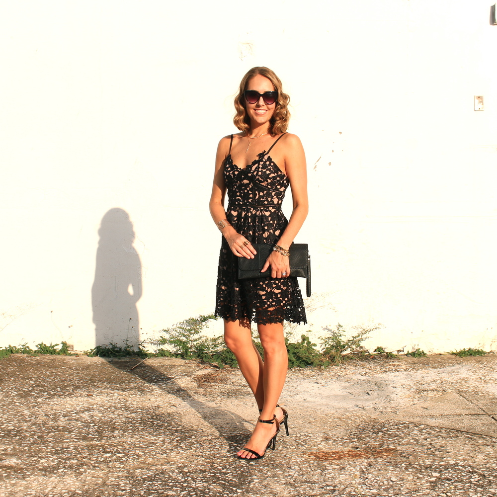 Black floral lace dress, $60