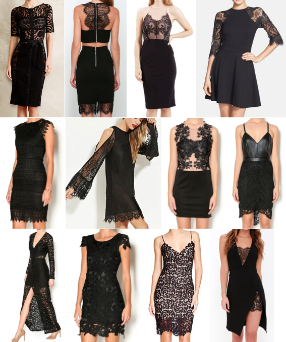 Black lace dresses on a budget