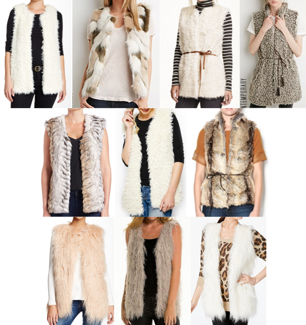 Faux fur vests under $100