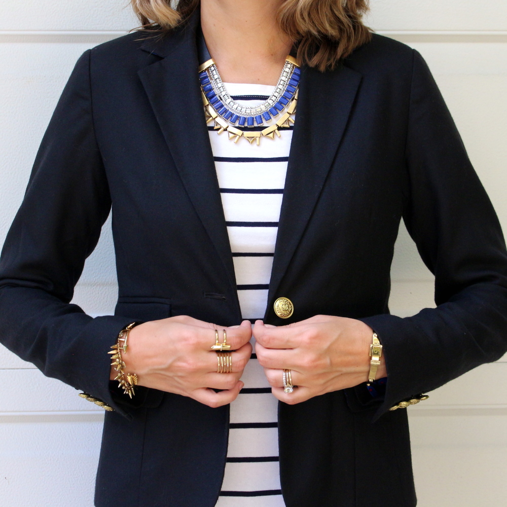 Black blazer, striped shirt, Stella & Dot Natalie necklace