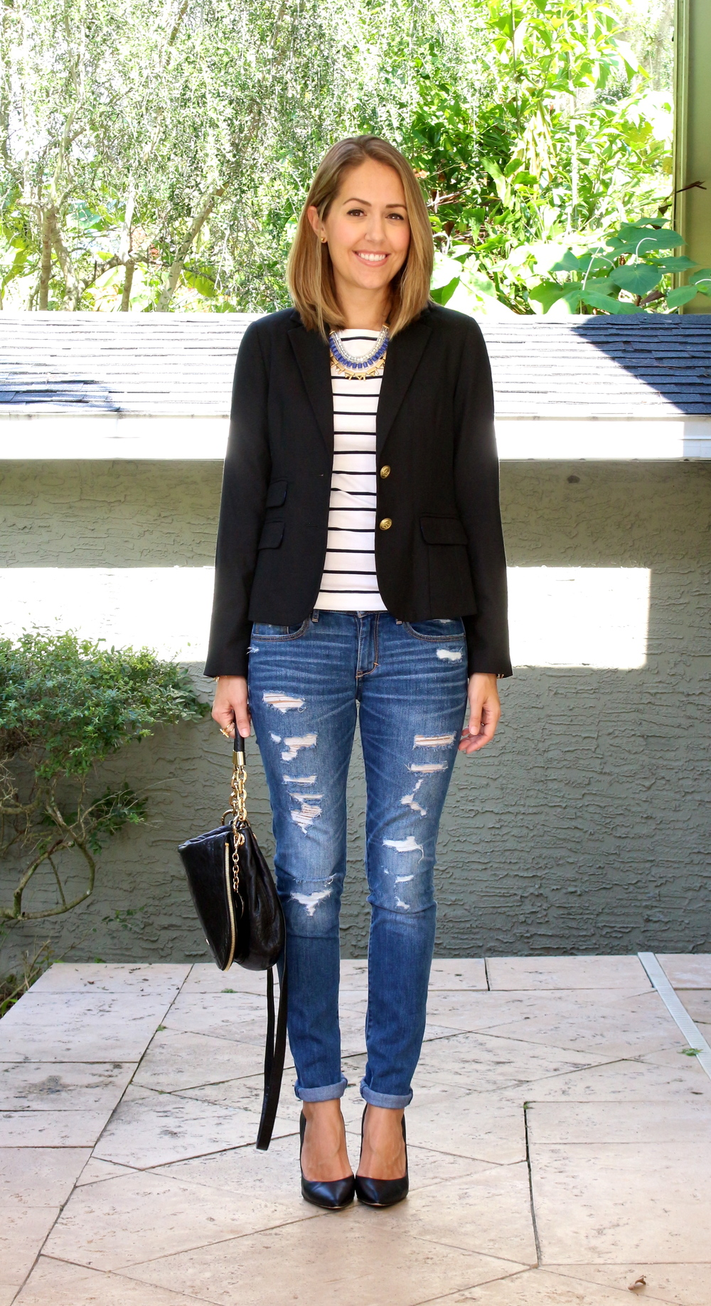 Black blazer, striped tee, distressed jeans