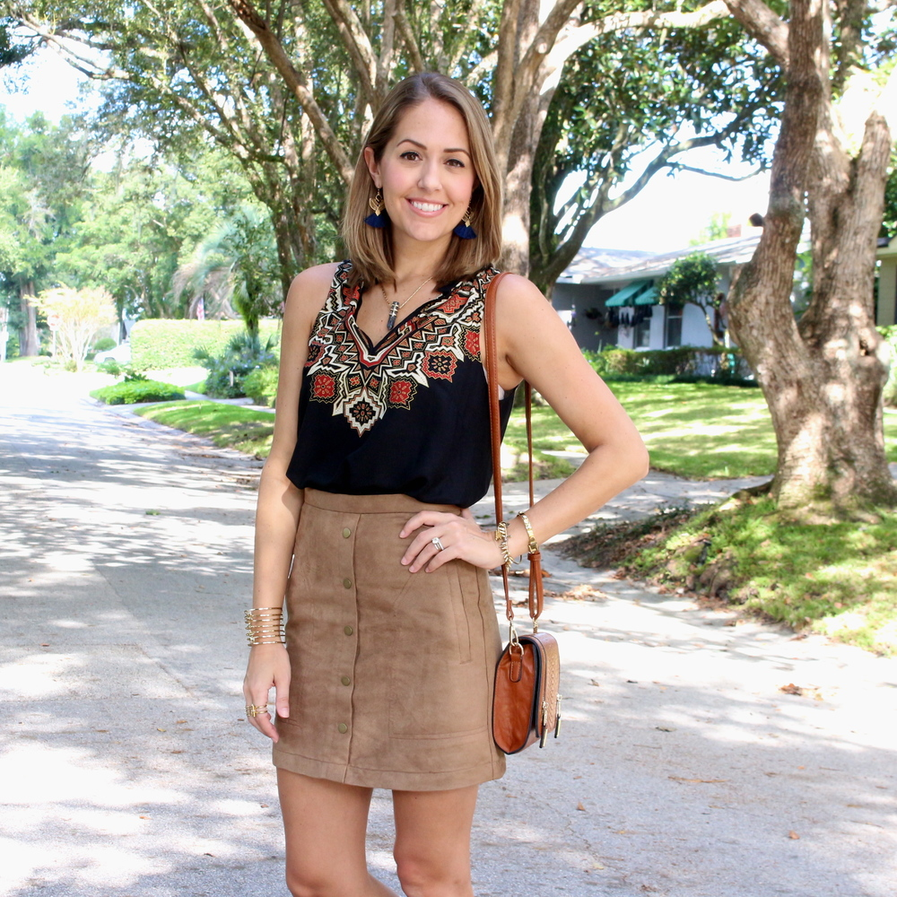 Boho top, suede skirt, fringe sandals