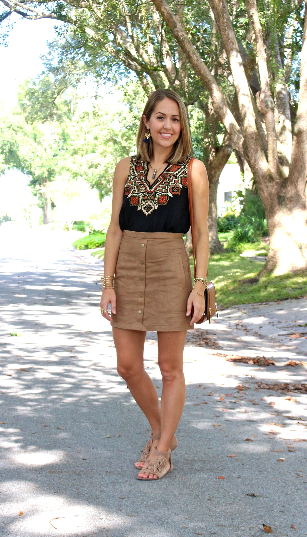 Boho top, suede skirt, fringe sandals