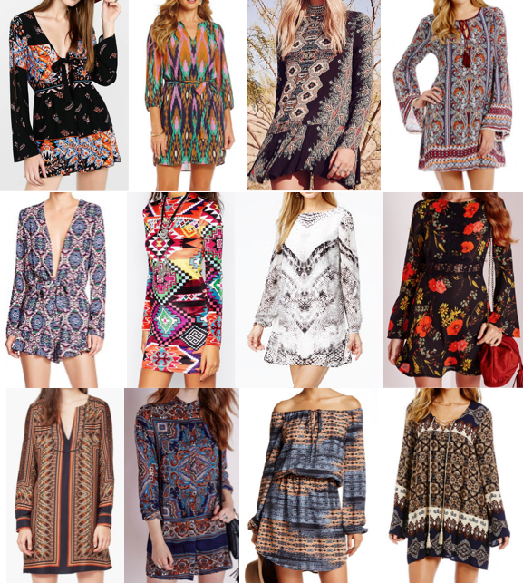 Boho long sleeve dresses under $100