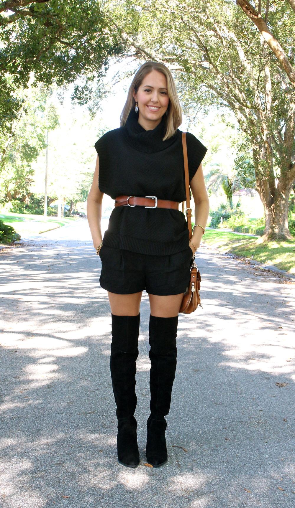 Black turtleneck, black shorts, black boots