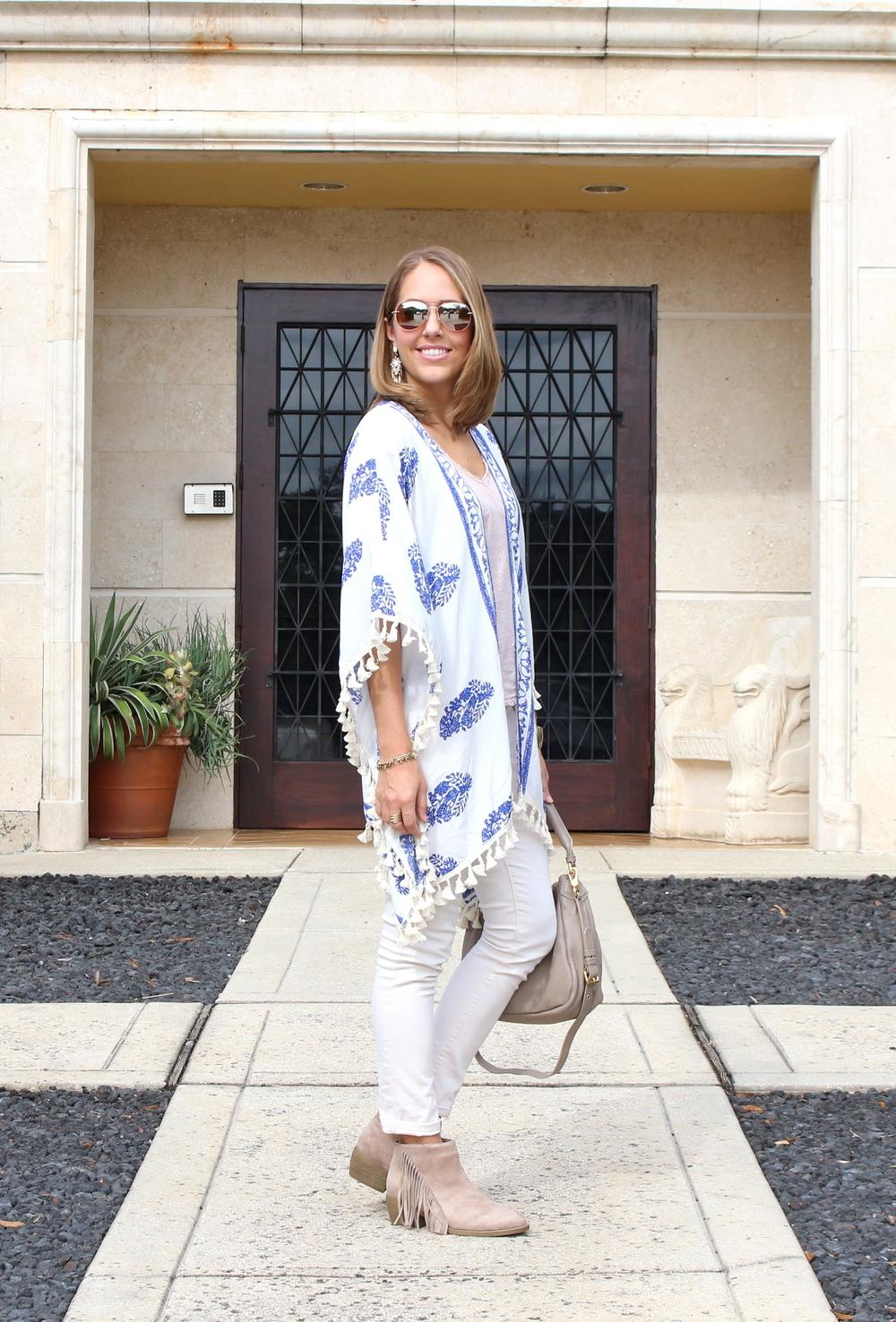 Fringe kimono, ivory jeans, fringe boots