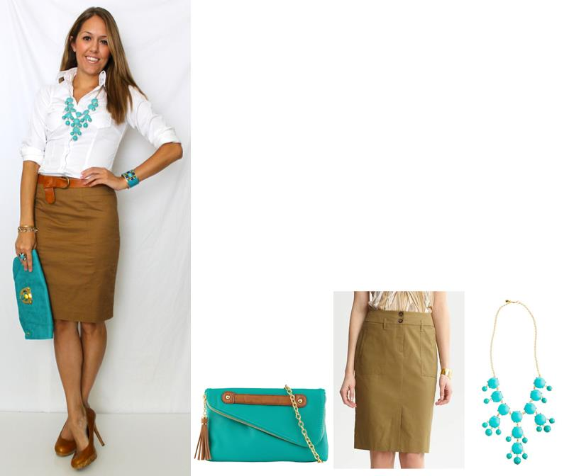 Color Combo: Camel, White and Teal